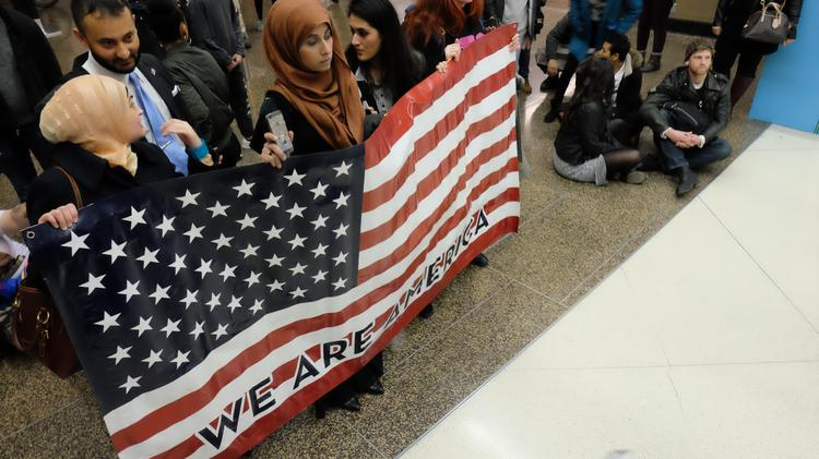 Protesters at the Seattle Tacoma International Airport upset with Trump's immigraiton ban of seven countries.