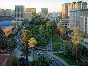 An aerial and panoramic view of the historic Plaza de Cesar Chavez in San Jose.