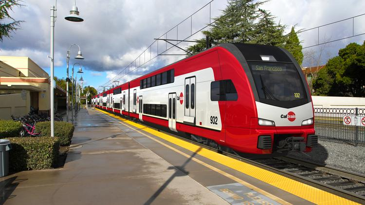 An artist's rendering of one of the new electric trains that Caltrain has ordered from Stadler Rail AG in Switzerland.
