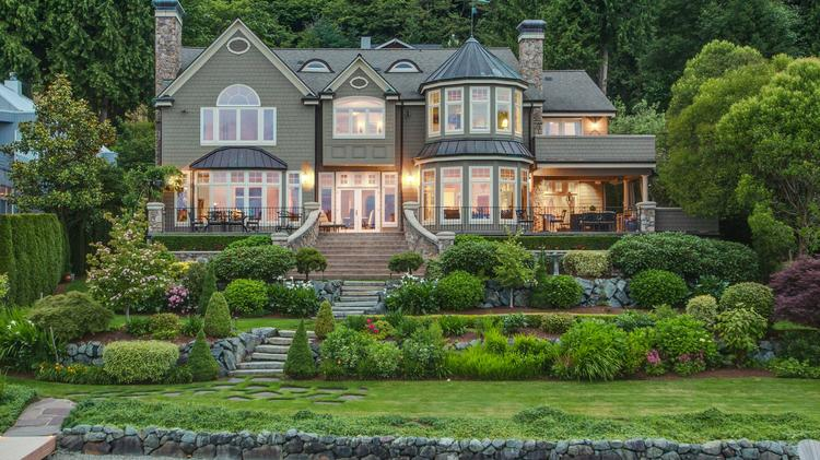 Elegant waterfront manse at 1836 W. Lake Sammamish Parkway S.E. in Bellevue was built for Kevin and Judy Cosens in 2002 and is selling for $4.73 million. Photo: Paul Mark Gjording