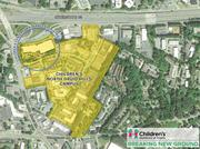 A site plan showing the 46 acres owned by Children's on the north side of North Druid Hills Road at I-85.