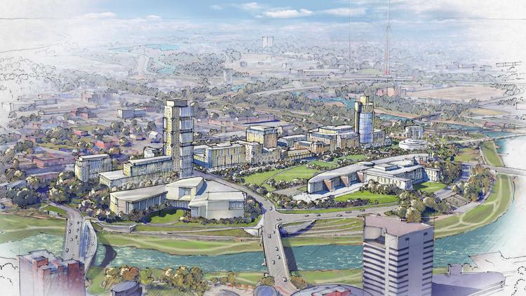 A $500 million plan for the Scioto Peninsula would bring residences, restaurants, offices, retailers and more to a site just west of COSI.
