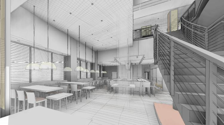 Preliminary renderings show some of the changes that will come to the restaurant space at 781 Seventh St. NW.