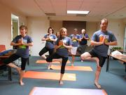 No. 6 (Companies 2-99): Yogis at the American Society of Landscape Architects practice their tree pose during a class offered in its office in D.C.
