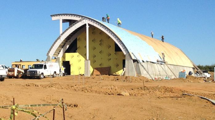 Work progressing on Red Oak's beer hall, beer garden