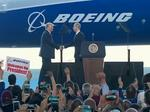 Trump touts jobs at Boeing 787-10 rollout