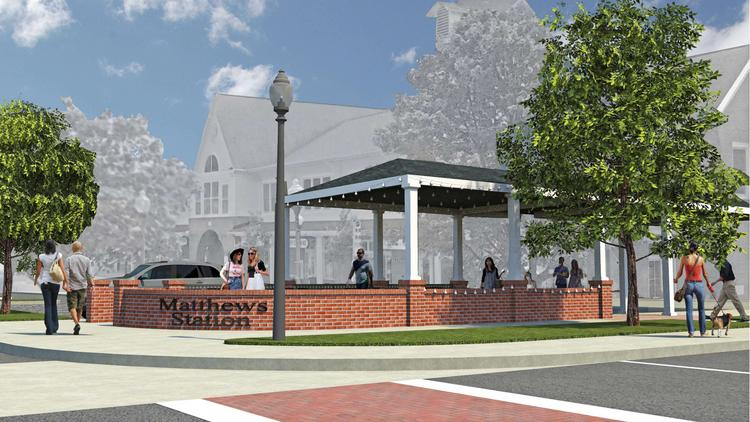 This Rendering Showcases Patio Space Available At Matthews Station.