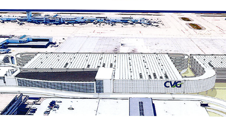 A preliminary rendering shows what the new rental car facility at CVG could look like.