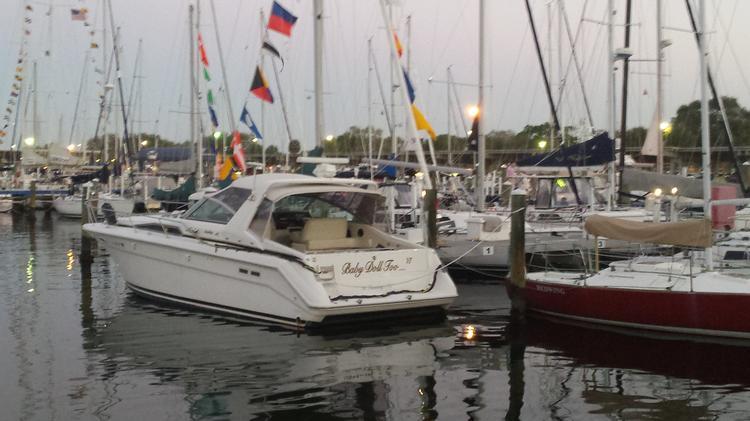 Yachts in St. Petersburg Sunday night.
