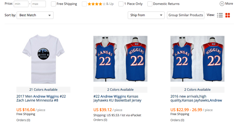 ae4392a9798 A screenshot shows counterfeit University of Kansas basketball jerseys for  sale on AliExpress.