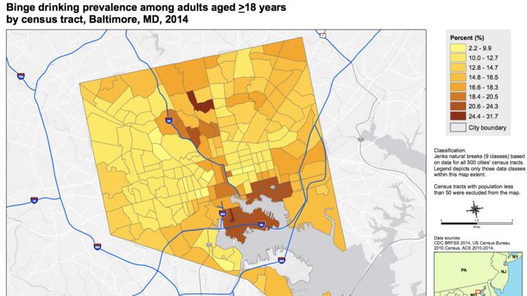CDC data ranks Baltimore neighborhoods on health indicators ...