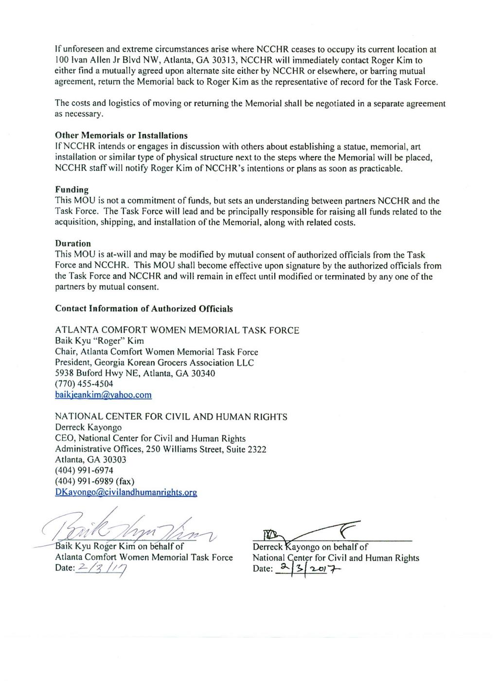 Center for civil and human rights says no to human trafficking to see the signature page of the memorandum of understanding between the center and the task force platinumwayz