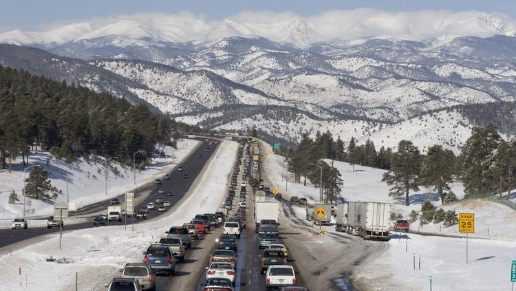 A traffic backup on westbound Interstate 70 heading into the Rocky Mountains.