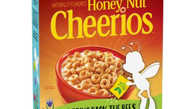 buzz takes a break from cheerios box to highlight bees plight