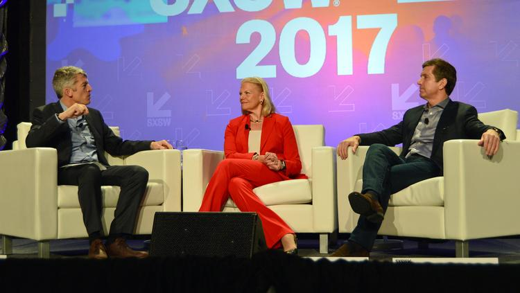 IBM Corp. CEO Ginni Rometty, center, flanked by Dell Medical School Dean Clay Johnston, left, and Johnson & Johnson CEO Alex Gorsky at a Monday SXSW panel.
