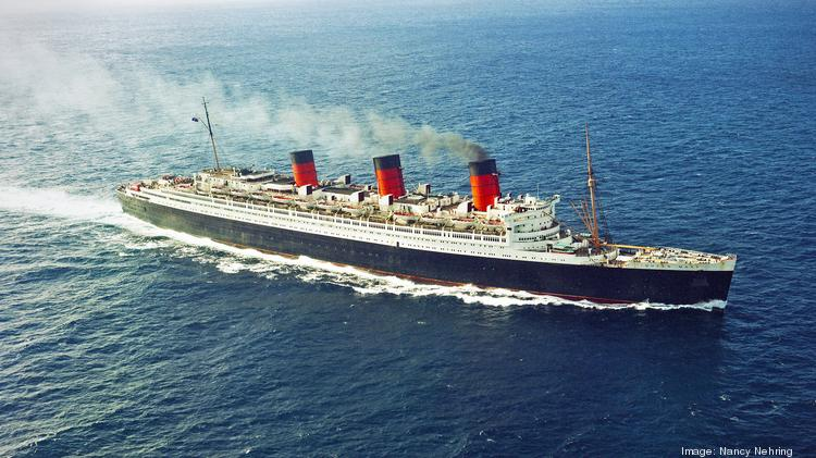Aerial View Of The Ocean Liner Rms Queen Mary In Pacific As She Roaches