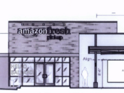 Drawings filed with the city of Seattle show what the Amazon Fresh Pickup facility will look like. Drivers will pull into stalls where their online orders will be brought out and loaded into their vehicles.