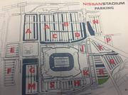 This map, distributed to members of the Sports Authority board of directors, shows the site that has been discussed for a potential observation wheel. It's the green patch below lot R.