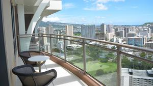 Mountain view from the 38th floor lanai of the Grand Islander by Hilton Grand Vacations Club