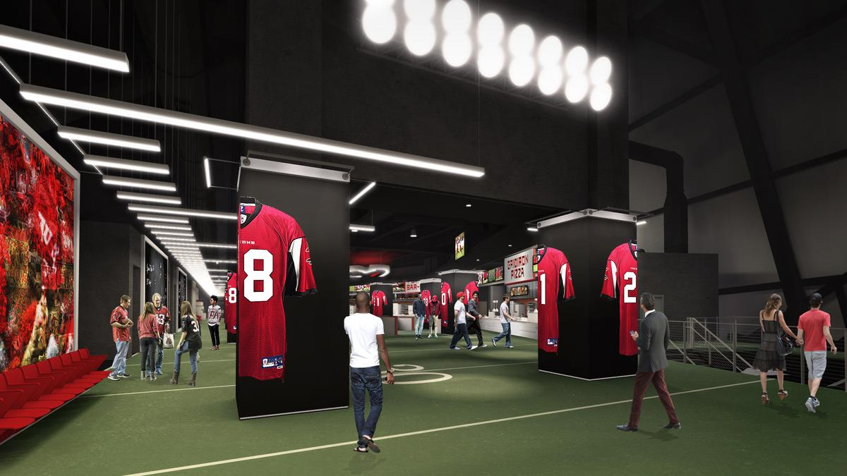 First look 100 yard club at mercedes benz stadium for Who owns mercedes benz stadium