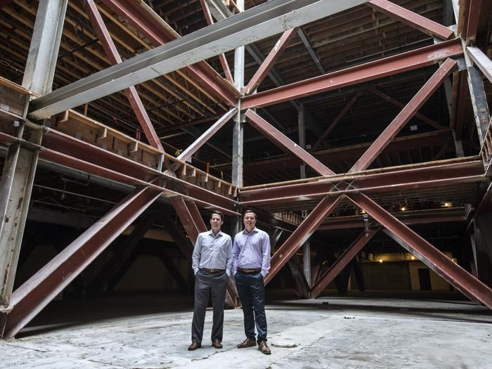 (L2R)Patrick Fisher and Chris Freise partners at Lift Partners who are jumping on the move to reinvigorate the old building in downtown. They like the little touches that the historic buildings bring, but want to modernize to take them into the future. Th