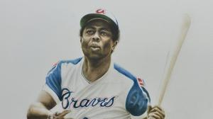 The Belgian native painted energetic portraits of ten Braves legends for the Delta SKY360 Club – the list includes Hank Aaron, Bobby Cox, Tom Glavine, Chipper Jones, Greg Maddux, Eddie Mathews, Dale Murphy, Phil Niekro, John Smoltz and Warren Spahn. This
