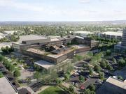 REI is moving forward with its 8-acre campus in Bellevue's Spring District. This shows the early plan for the campus, which will have 400,000 square feet of space in three buildings. Bridges will span the courtyard, and there will be outdoor spaces for employee meetings and community events.