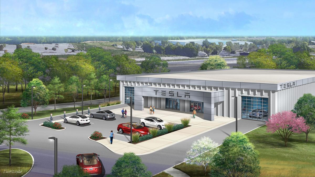 New photo of Tesla's proposed Chesterfield dealership - St. Louis Business Journal