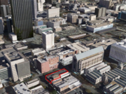 The red outline shows the location of 99 Peachtree.
