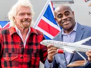 Sir Richard Branson (left) and Seattle-Tacoma International Airport Aviation Managing Director Lance Lyttle