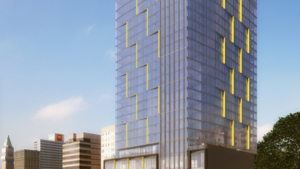 A rendering of Holland Partner Group's 250-unit residential tower at 1721 Webster St. in Oakland