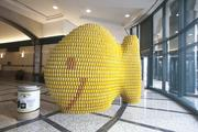 GBBN Architects built a goldfish with yellow-, white- and orange-labeled cans. The sculpture can be seen at the Scripps Center. When the Canstruction show is dismantled, the cans of food will be given to the FreeStore Foodbank.