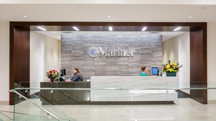 A view of the welcome desk in Mariner Holdings's new main lobby.