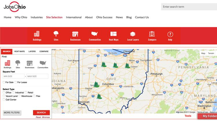SiteOhio is a way for companies to search for available expansion sites.