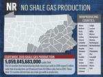 Which counties produced the most shale natural gas in 2016?