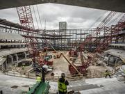 Workers on the site of the Milwaukee Bucks arena project
