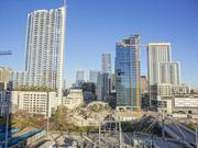 Another view of progress on the 500 West Second Street high-rise, sheathed in glass and second from right, from the west looking toward the rest of downtown. At left is the 360 Residential Condominiums tower. In the foreground is the construction site for the Austin Proper Hotel & Residences.