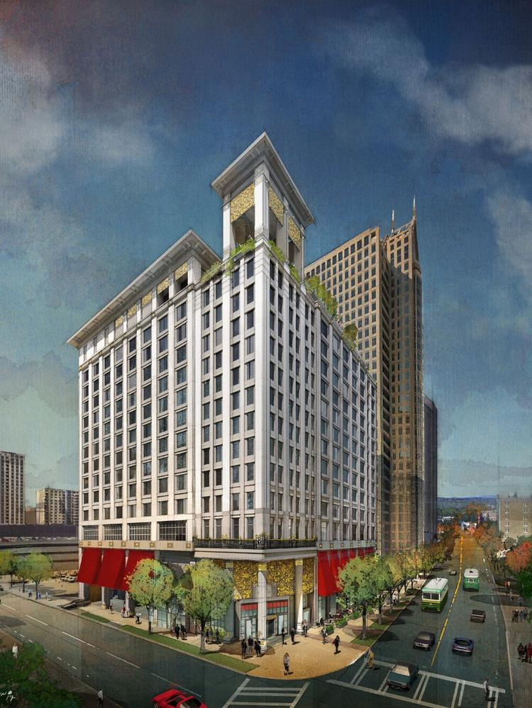 A 254-room Grand Bohemian Hotel is under construction at the corner of Trade and Church streets, with anticipated opening in March 2020.