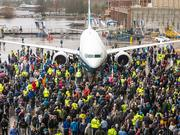 Boeing employees celebrated the 737 Max 9's rollout from the Renton factory as it made its first flight last week.