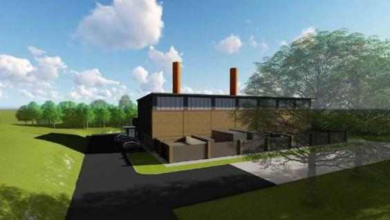 Artists rendering of the $50.8 million natural gas plant that Duke Energy proposes to build on the Clemson University campus.