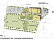 Louisville-based Passport Health Plan Inc. released an early concept sketch of the new health and wellness campus it hopes to create in conjunction with building a new headquarters at the vacant lot near the intersection of 18th Street and West Broadway.