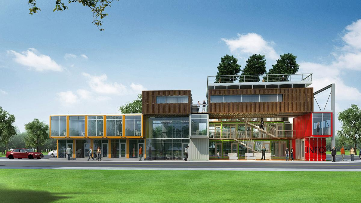 Office Park Made Of Shipping Containers Ready For Delivery