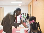 Shawn Joseph visits with students at Rosebank STEM School. The Maryland educator took the helm as Metro Nashville's schools chief last summer.