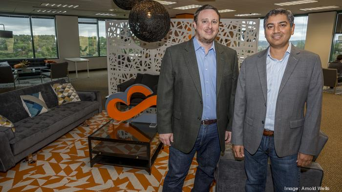 Matt Sanchez, left, and Akshay Sabhikhi of CognitiveScale Inc. develop AI software for the health care, finance and commerce sectors. Sanchez is the company's founder and chief technology officer; Sabhikhi is CEO.