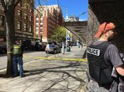 Seattle Police closed down traffic along downtown streets after officers were shot near Columbia Street and Western Avenue.