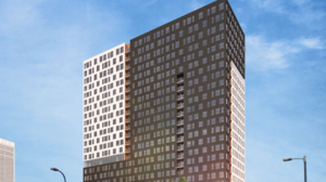 A rendering of Mortenson's planned 26-story tower at 333 E. Hennepin, as viewed from the west.