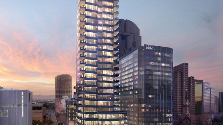 The 25-story tower will bring 44 luxury homes and a hotel to the Dallas Arts District.