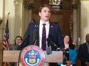 Colorado state Rep. Alec Garnett, D-Denver, speaks at an April 19, 2017 news conference about a construction-defects reform compromise that he is given much credit for bringing about.