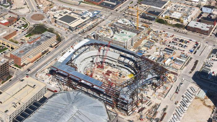 Bucks arena continues to rapidly take shape