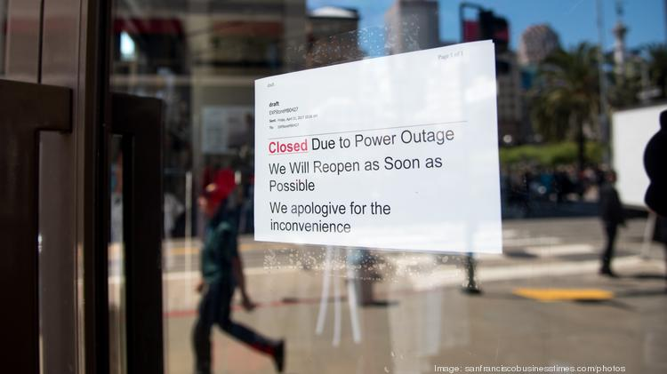 Power outage hits downtown S F , Union Square - San